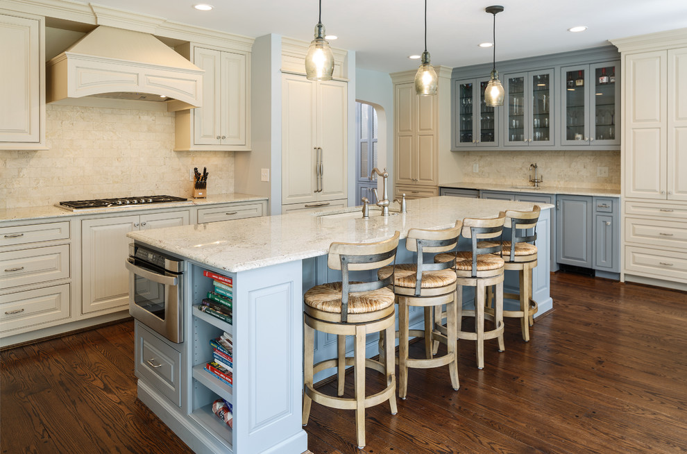 cream kitchen island cream beaded inset with brush striate and blue island western custom cabinetry 2653