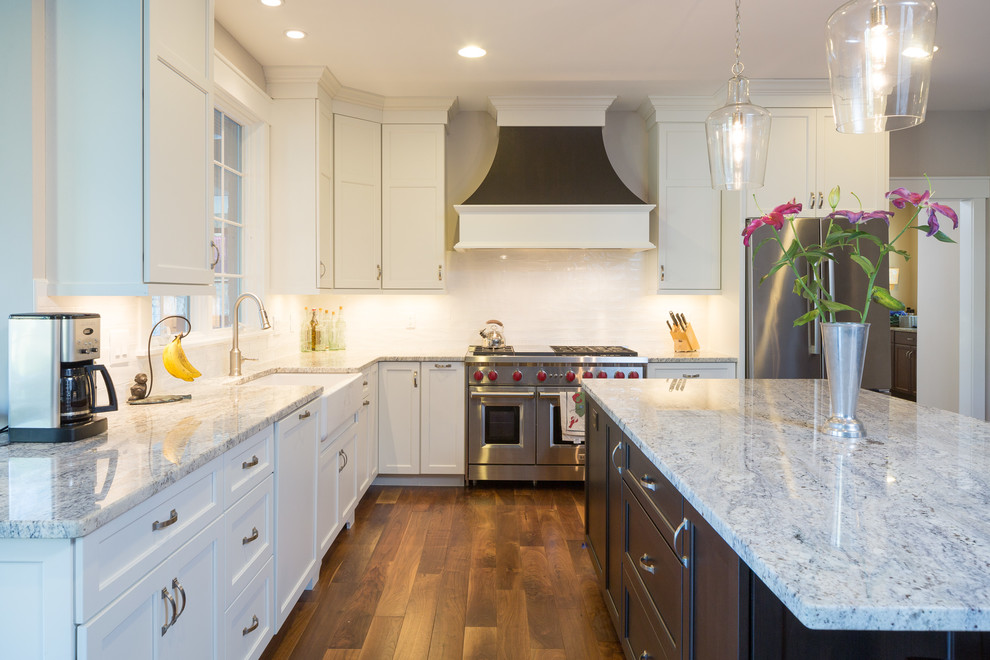 White Full Overlay Kitchen with Alder Briarwood Island