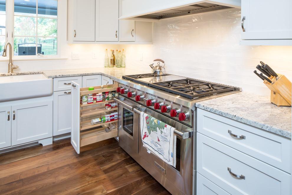 White Full Overlay Kitchen with Alder Briarwood Island