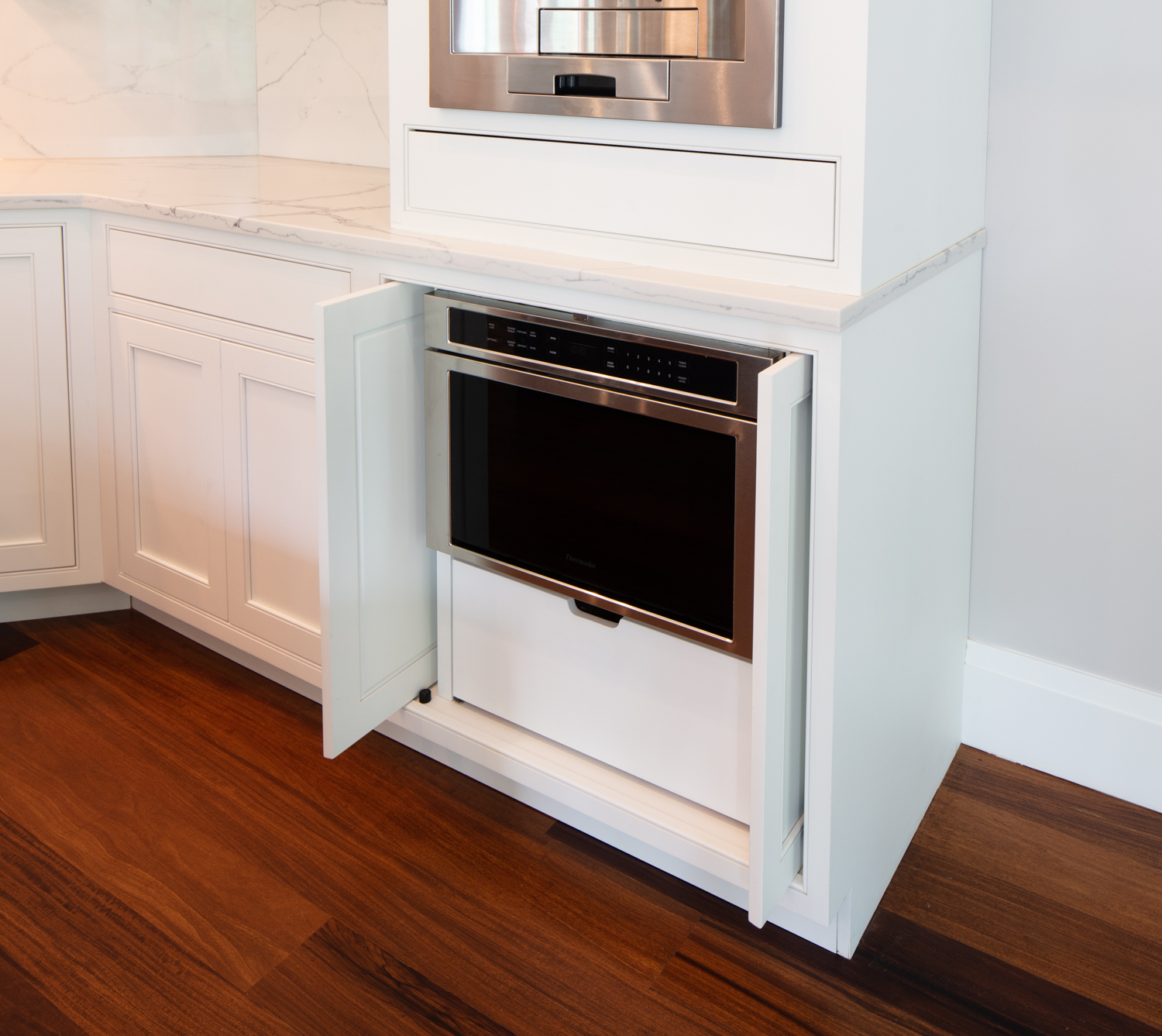 Built-in Microwave Cabinet with Pocket Doors