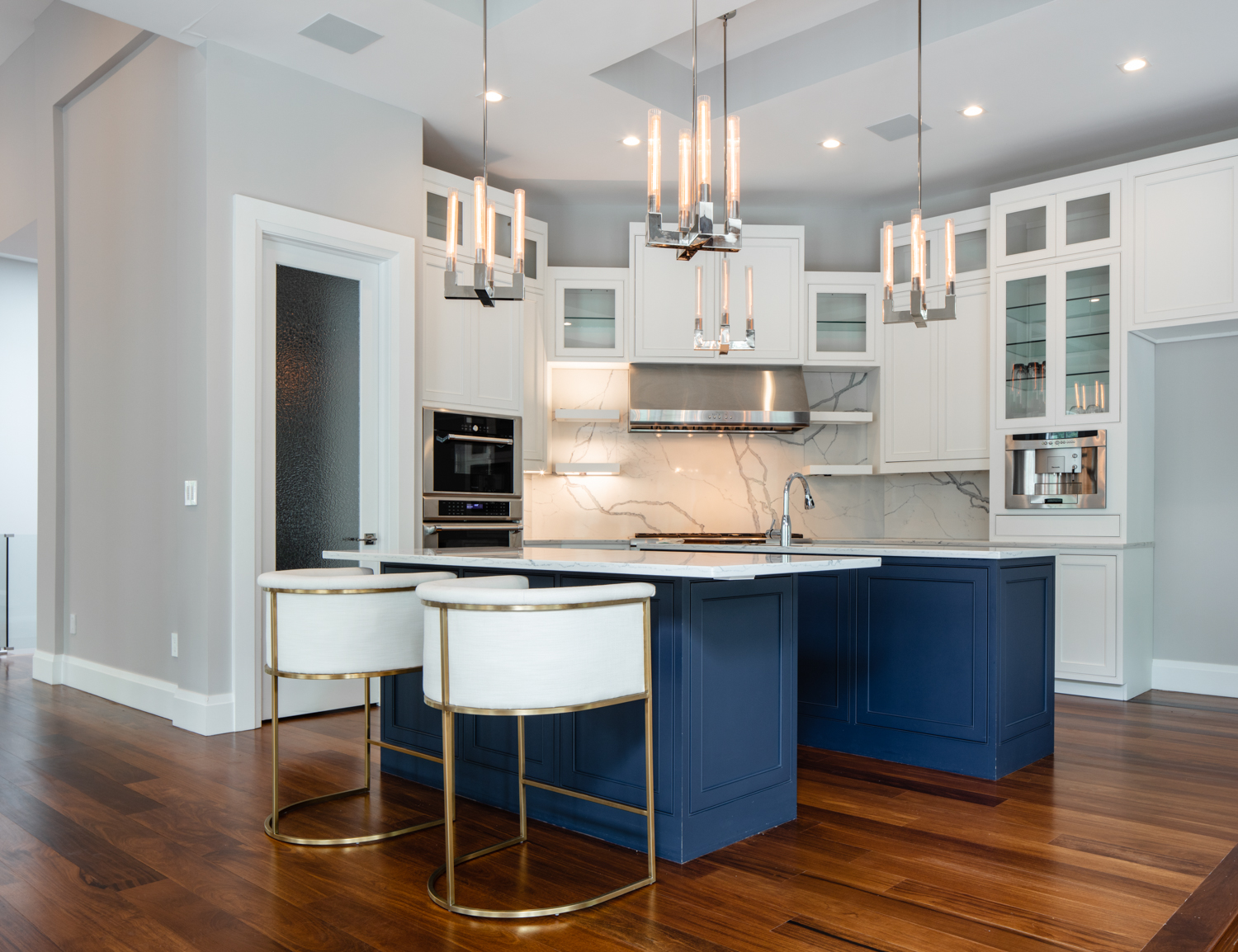 White Beaded Inset Cabinets with Navy Double Island ...