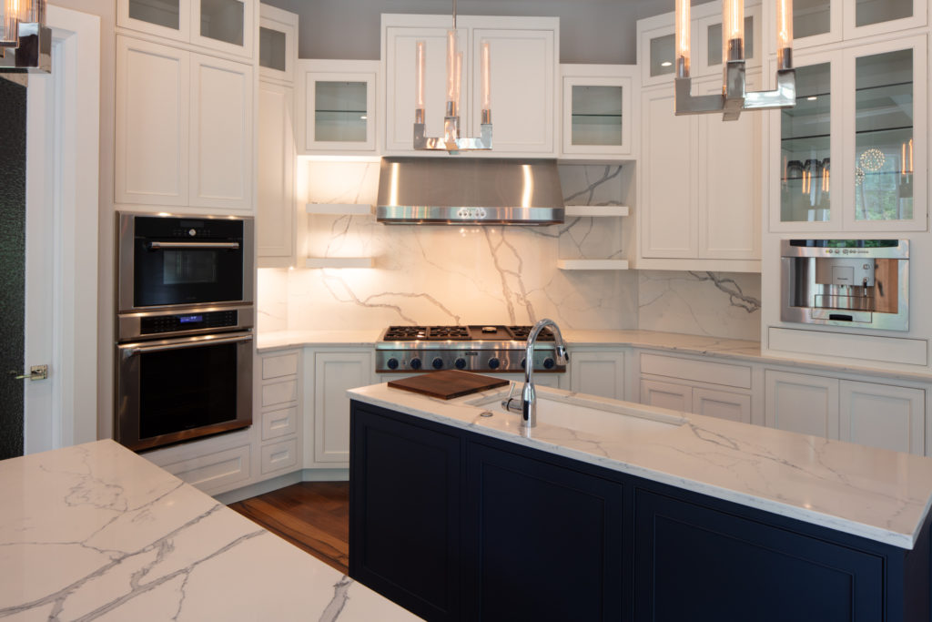 White Beaded Inset Cabinets with Navy Double Island